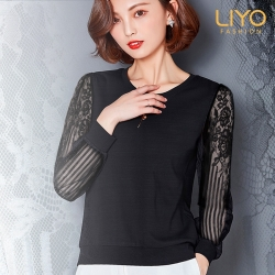 上衣-LIYO理優-微透膚冰涼蕾絲接袖上衣-歐洲進口面料