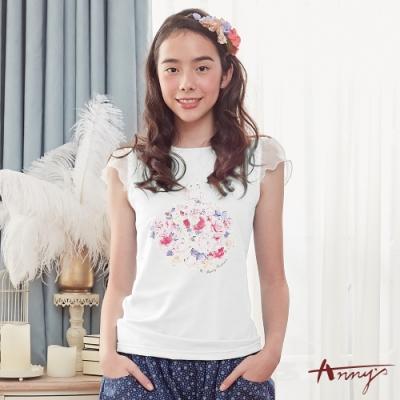 Annys安妮公主-百搭可愛花朵女孩網紗荷葉邊無袖棉質上衣*8330白