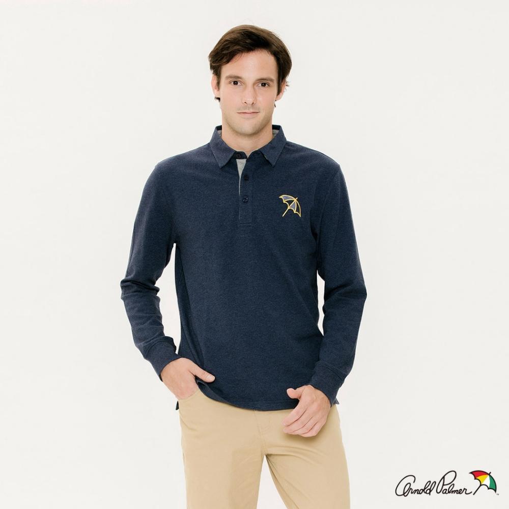 Arnold-Palmer-男裝-經典大傘刺繡長袖POLO衫-藍