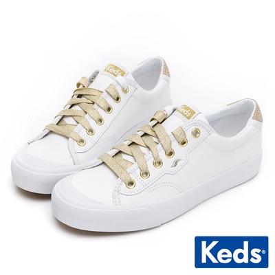 Keds CREW KICK 金蔥撞色皮革休閒鞋-白/金