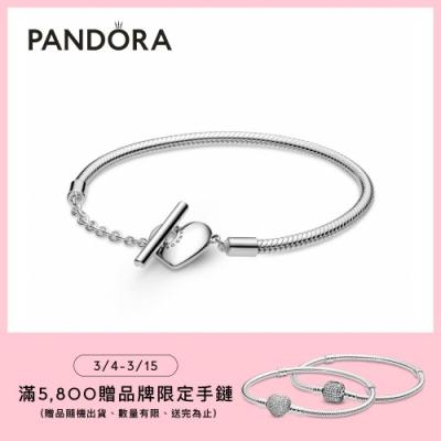 【Pandora官方直營】Pandora Moments 心形 T 字扣蛇形手鏈
