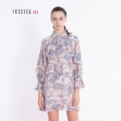 JESSICA RED - 氣質甜美襯衫領荷葉邊印花洋裝