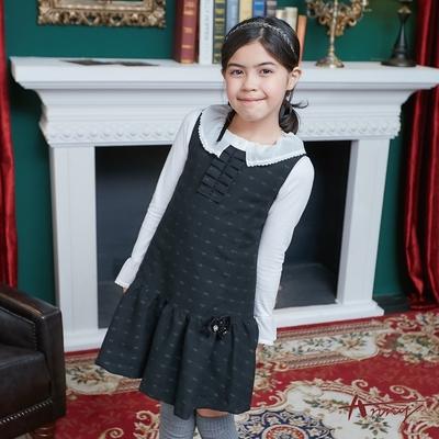 Annys安妮公主-可愛小花布料秋冬款領口抓褶設計背心裙*8237黑色