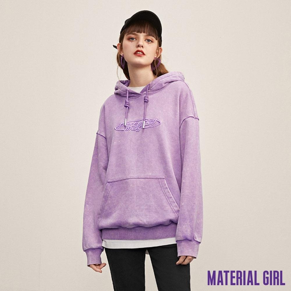 MATERIAL GIRL 紫色刺繡連帽上衣【20冬季款】-A4208