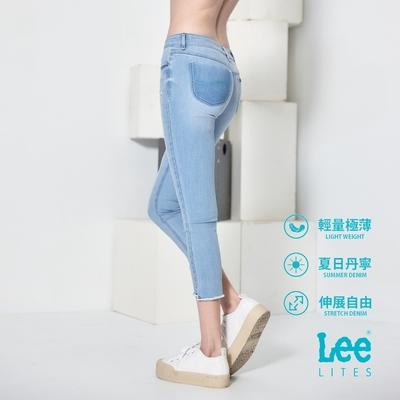 Lee 418中腰修身窄管七分牛仔褲 女款 淺藍 JADE