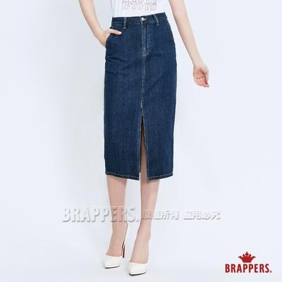 BRAPPERS 女款 Boy friend系列-前片開叉七分裙-深藍