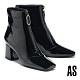 短靴 AS 摩登都會金屬拉鍊造型軟漆皮方頭高跟短靴-黑 product thumbnail 1