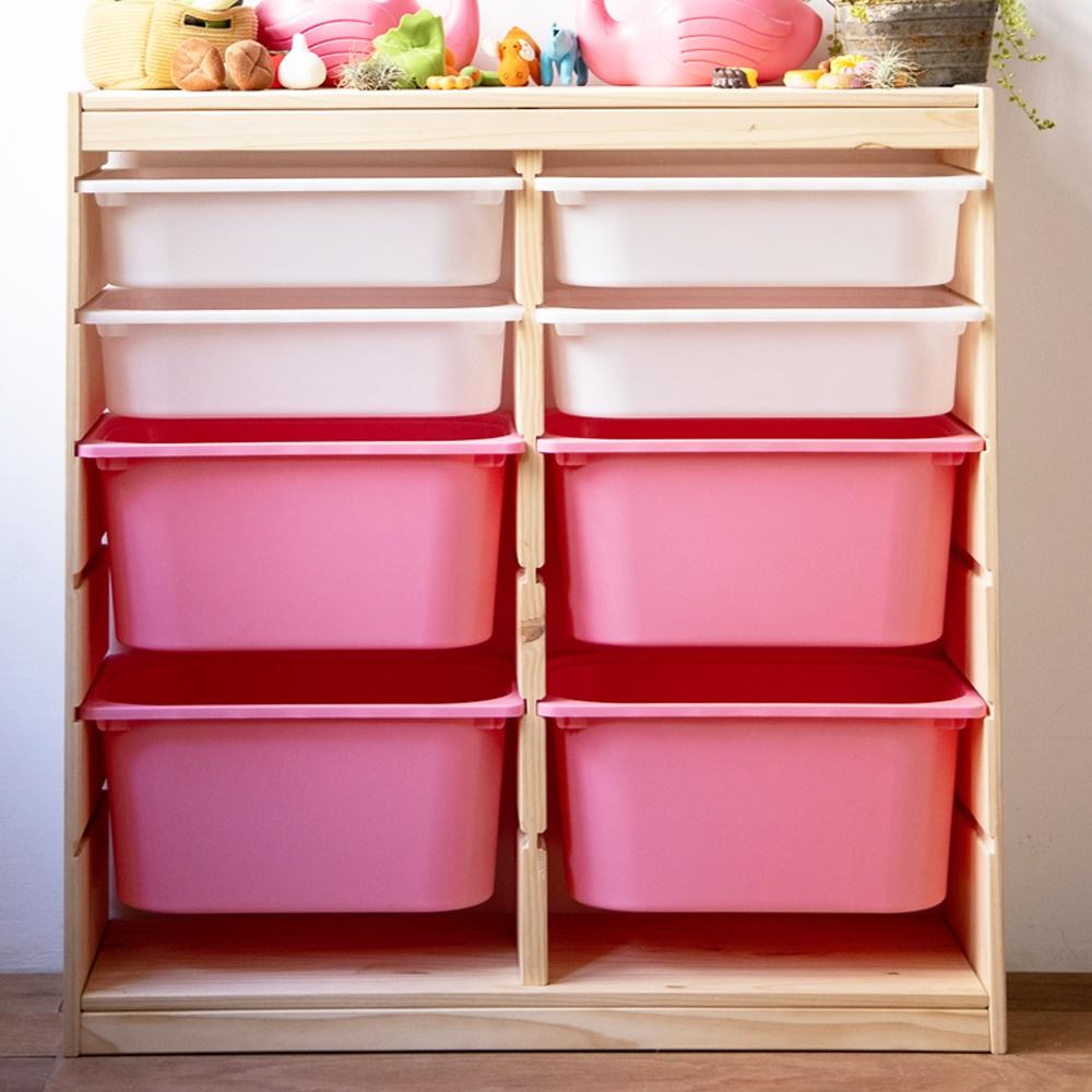 [時時樂限定#加碼送4小收納盒] SS兒童安全傢俱系列-松木實木多彩單雙邊玩具收納櫃(含4大收納盒)