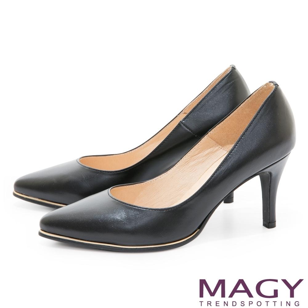 [今日限定] MAGY 精選跟鞋均價1180 (A.金屬條飾真皮尖頭高跟鞋-黑色)