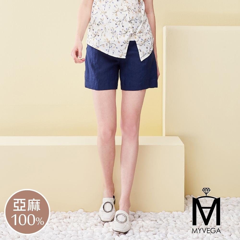 MYVEGA麥雪爾 MA100%亞麻蕾絲套裝短褲-深藍