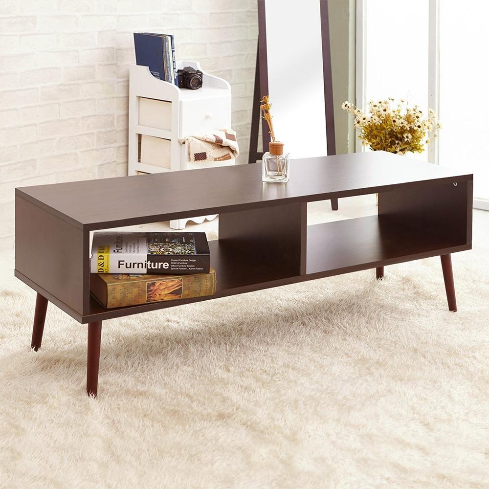 澄境 低甲醛二格雙向實木腳電視櫃/茶几桌120x40x45cm-DIY