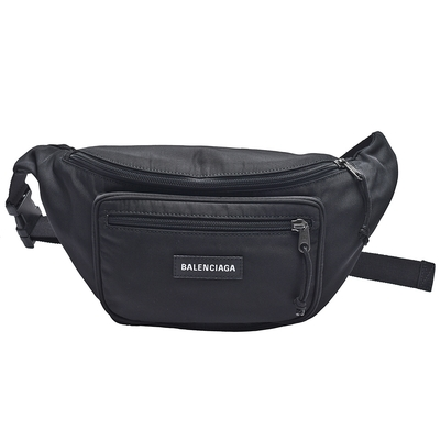BALENCIAGA Explorer系列品牌字母織花尼龍布中性腰包/斜背包(黑)