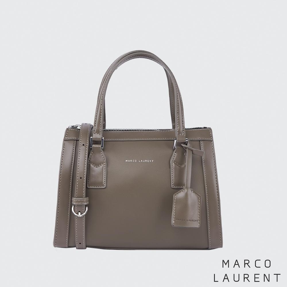 MARCO LAURENT Color block 皮框手提肩背包 - 卡其灰