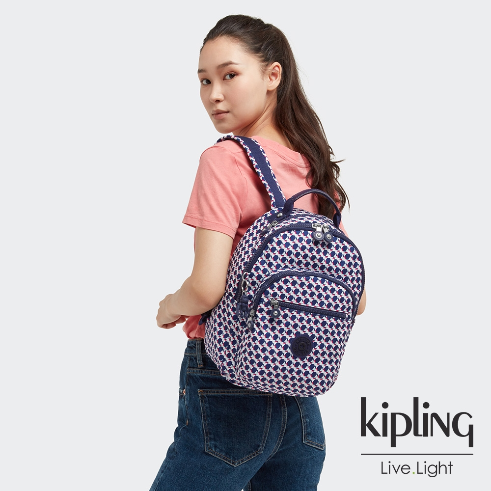 Kipling 典雅幾何印花機能手提後背包-SEOUL S
