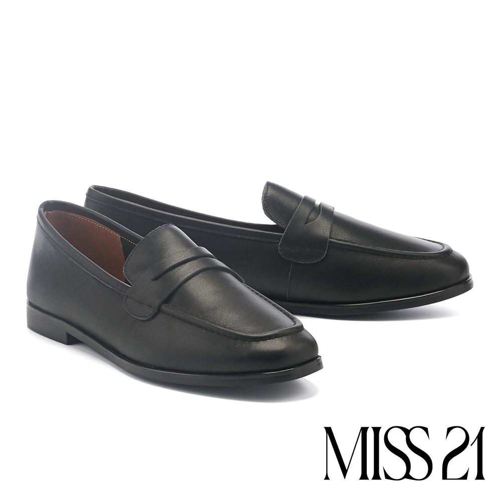 低跟鞋 MISS 21 復古簡約奶奶風全真皮樂福低跟鞋-黑