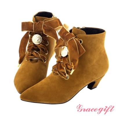 Grace gift-美少女戰士經典變身綁帶短靴 棕