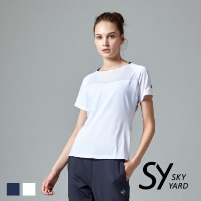 【SKY YARD 天空花園】透氣網眼拼接挖背運動T恤-白色