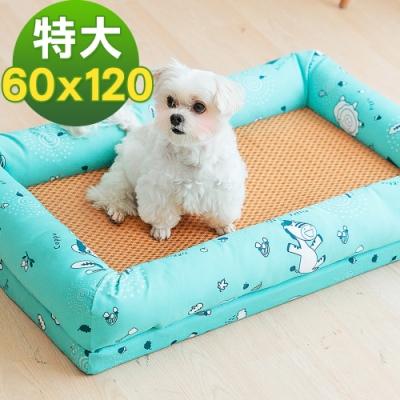 奶油獅 涼夏好眠-台灣製造森林野餐-寵物透氣紙纖涼蓆記憶床墊-特大60*120cm(25kg以上適用)-藍