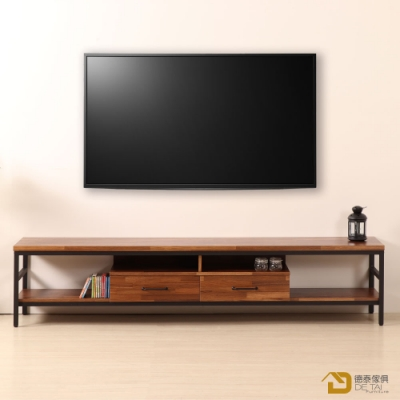 D&T 德泰傢俱 格萊斯積層木工業風7尺TV櫃-210.8x44.9x46.5cm