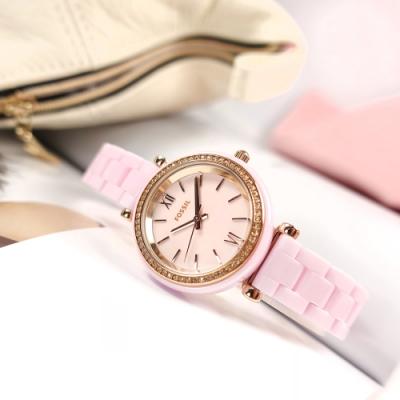 FOSSIL /  Carlie 細緻典雅 晶鑽錶圈 陶瓷手錶-粉x玫瑰金框/30mm