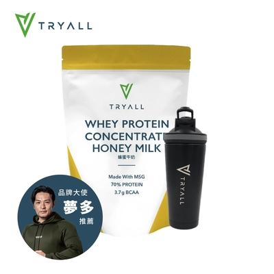 [台灣 Tryall] 雙層不鏽鋼搖搖杯(600ml) 消光黑+濃縮乳清蛋白(500公克/包)-蜂蜜牛奶