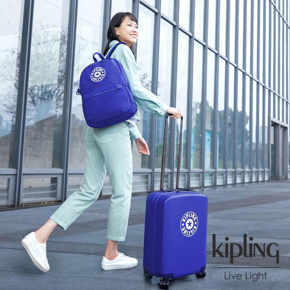 Kipling 激光藍品牌經典圓標20吋摩登硬殼登機箱-CURIOSITY S