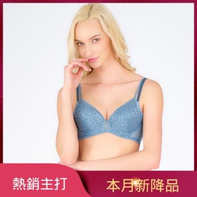 黛安芬-Premium閃耀純粹系列3D空氣棉緹花無痕透氣 D罩杯內衣 優雅藍