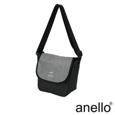 日本正版anello 混色花紋郵差小包 AT-N0661 黑色x灰色 BG