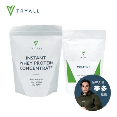 [台灣 Tryall] 無添加濃縮乳清蛋白 (MSG分裝) (1kg/袋)+肌酸 (500g/包)