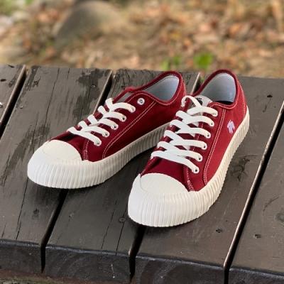 moz瑞典 駝鹿綁帶式帆布餅乾鞋(酒紅)