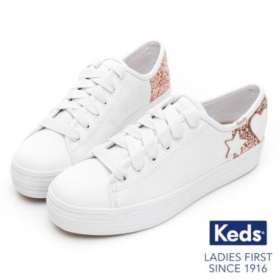 Keds x Kate Spade 聯名款 TRIPLE KICK 童趣亮片皮革休閒鞋-白
