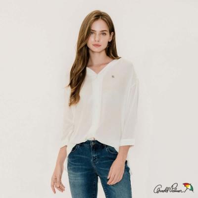 Arnold Palmer-女裝-袖口荷葉邊V領開襟襯衫-白