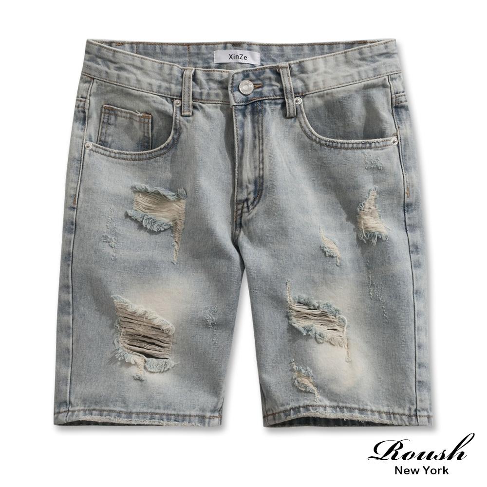 Roush 刷白破壞抽鬚淺色牛仔短褲
