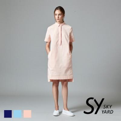 【GABBIANO】夏日悠閒風襯衫領棉質短袖洋裝-粉色