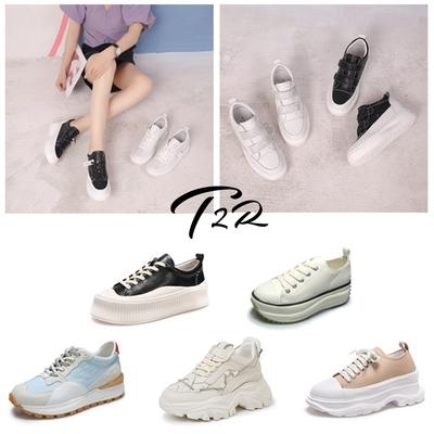 【時時樂限定】T2R-正韓空運-真皮 帆布 厚底增高 休閒鞋 老爹鞋-水鑽造型/素面/拼接-5-7公分-多任選