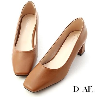 D+AF 輕透春氛.素面方頭中跟鞋*棕