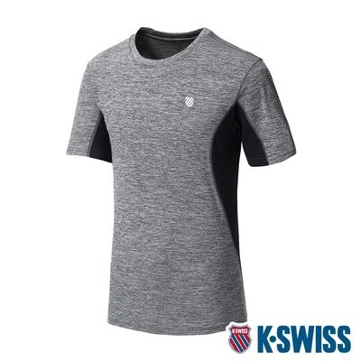 K-SWISS Neon Logo Tee涼感排汗T恤-男-灰