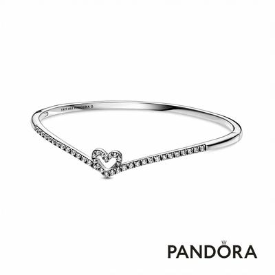 【Pandora官方直營】 璀璨許願骨心形手環