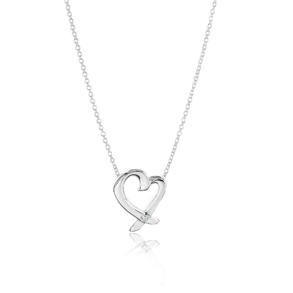 Tiffany&Co. Loving Heart 鑲鑽石925純銀項鍊