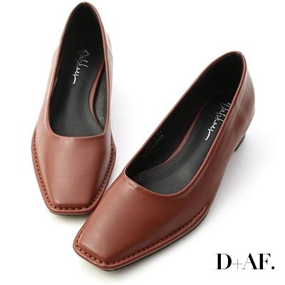 D+AF 神秘色調.獨特車線方頭中跟鞋*棕