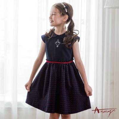 Annys安妮公主-可愛水鑽芭蕾女孩秋冬款紅點拼接綁帶洋裝*0229藍色