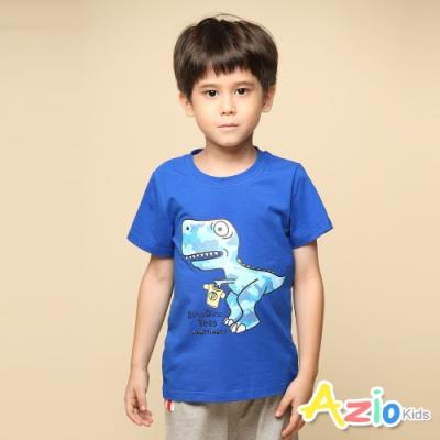 Azio 男童 上衣 迷彩恐龍印花短袖T恤(藍)