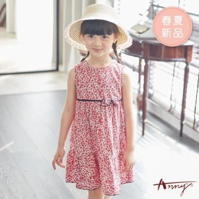 Annys安妮公主-嫣紅滿版小花雙蝴蝶結春夏款背心洋裝*9306紅色