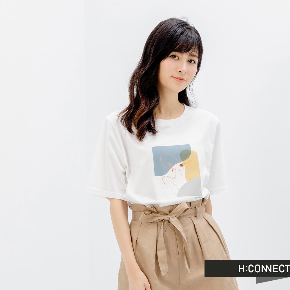 H-CONNECT 韓國品牌 女裝-圓領色塊拼接T-Shirt-白色