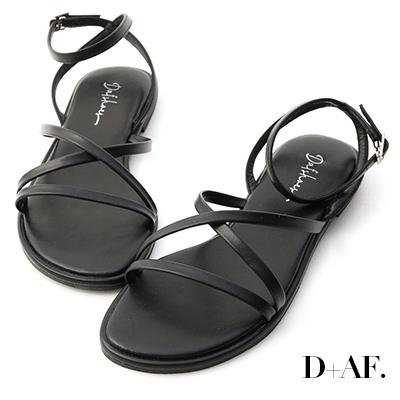 D+AF 夏天的風.細帶交叉平底涼鞋*黑
