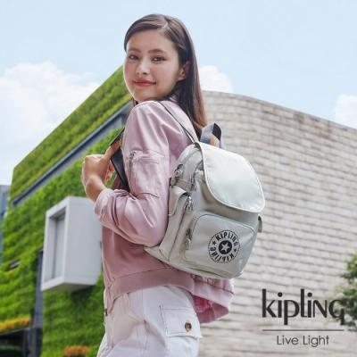 Kipling 質感活躍銀拉鍊掀蓋後背包-CITY PACK MINI