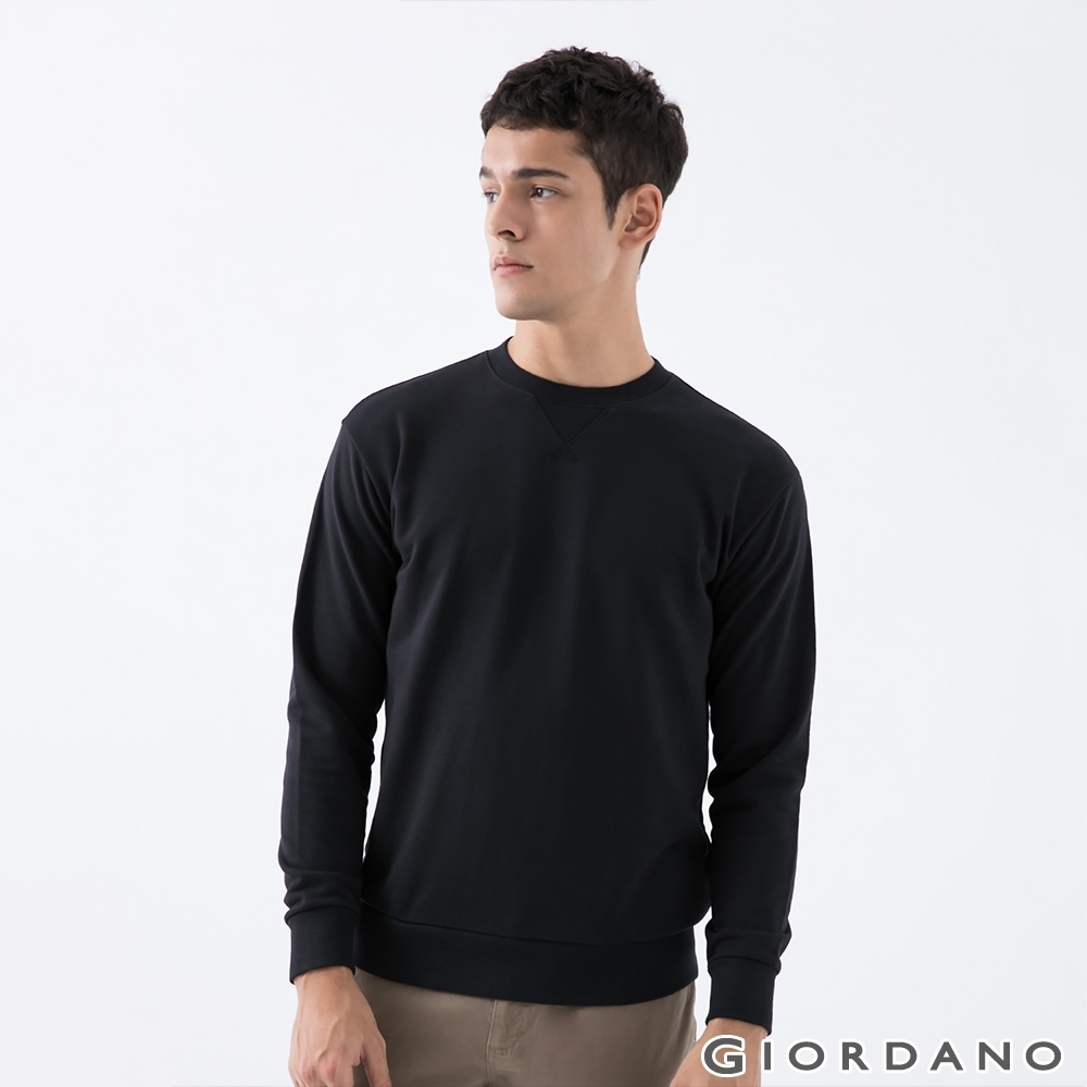 GIORDANO 男裝簡約素色大學T恤 - 01 標誌黑