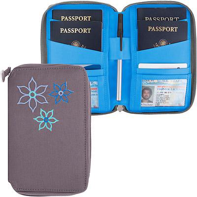 TRAVELON Bouquet繡花拉鍊防護證件護照夾(灰)