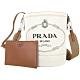 PRADA Mistolino 品牌徽標帆布肩背水桶包(米色) product thumbnail 1