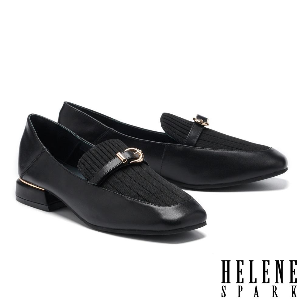 低跟鞋 HELENE SPARK 復古知性異材質拼接方頭樂福低跟鞋-黑